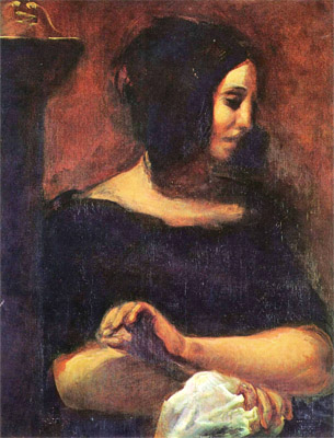 Portrait of George Sand by Eugene Delacroix